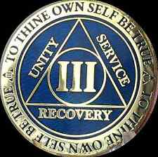 3 Year Reflex Blue Gold Plated AA Medallion Alcoholics Anonymous Sobriety Chip