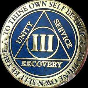 3-Year-AA-Medallion-Blue-Gold-Plated-Alcoholics-Anonymous-Sobriety-Chip-Coin