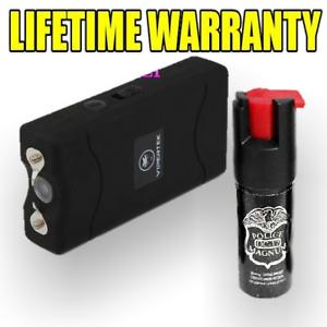 Vipertek 300 Billion Volt Rechargeable Stun Gun LED Light Black + Pepper Spray