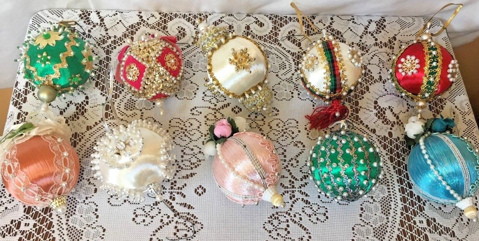 Beaded ornaments satin balls flower ornaments colorful lot of 10