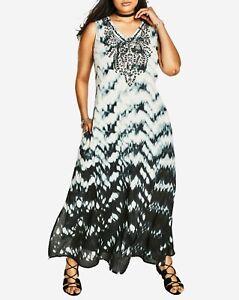 Details about Roaman\'s Plus Size Sleeveless V-neck Black Tie Dye Maxi Dress  Size 16W
