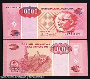 Coins & Paper Money Africa Portugal Angola 10000 Kwanzas 1995 P-137 Unc Banknote