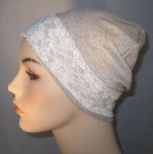 Gray Stretch Knit Sleep Cap w/White Lace Alopecia Hospital Hat Cancer Chemo Hat
