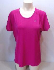 Under-Armour-Semi-Fitted-Heat-Gear-Women-039-s-Pink-Short-Sleeve-Shirt-Size-LG