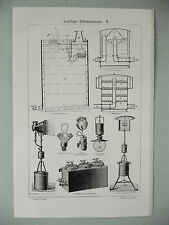 stampa antica old print ELETTRICITA ILLUMINAZIONE ACETILENE FANALE LANTERNA 1931