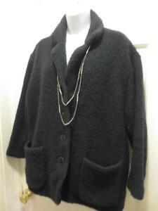 Womens Eileen Størrelse Fabulous Fisher Boucle Black Onyx Wool Jacket Large Frakke HxU1wPqx