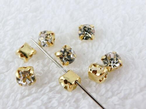 Strass aufnähen verre aufnähsteine gold version environ 4,5mm Crystal Diamant