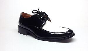 MENS TUXEDO FORMAL DRESS SHOES PATENT LEATHER - 2 TONE BLACK/WHITE ...