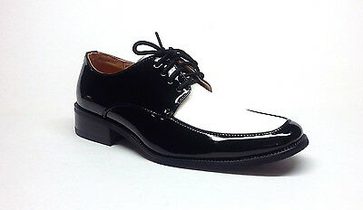 MENS TUXEDO FORMAL DRESS  SHOES PATENT LEATHER - 2 TONE IN BLACK & WHITE