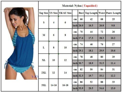 Damen Tankini Bikini Set Push Up Badeanzug Oberteile Bademode Schwimmanzug 34-46