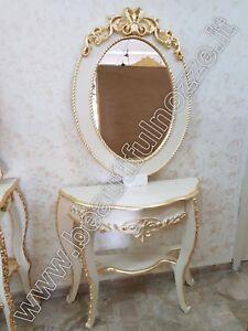 Consolle Con Specchio.Dettagli Su Consolle Con Specchio Ovale In Legno Panna E Foglia Oro