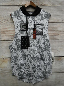 Five-by-Five-by-Master-Piece-Mens-Large-Splatter-amp-Patched-Hooded-Tank-Shirt-New