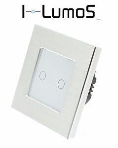 I LumoS Luxury Silver Aluminium Frame Touch On/Off LED Light Switches