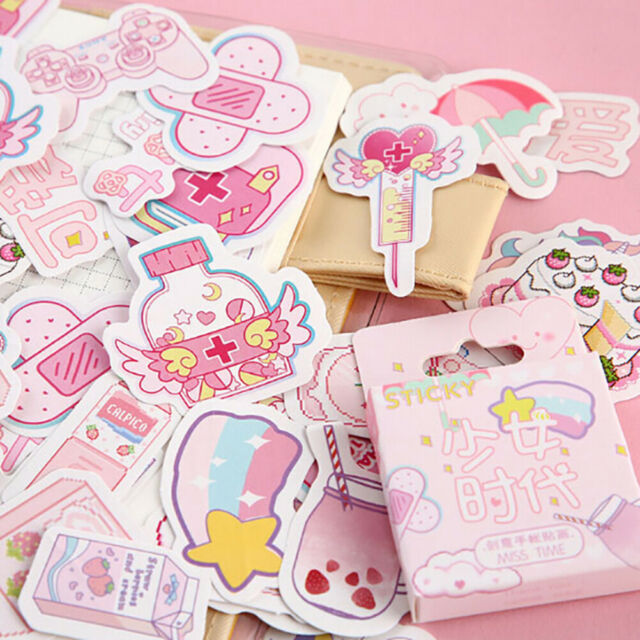 46pcs/box Pink Girlhood DIY Diary Stickers Paper Lables Gifts Packaging DecoBSHQ