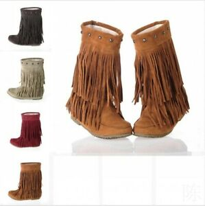 Womens-Ankle-Moccasin-Boots-Casual-Hidden-Low-Heel-Tassels-Fringes-Lace-Up-Shoes