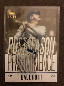 2018 Topps update Gold Babe Ruth PO-11 ~~Numbered 12/50