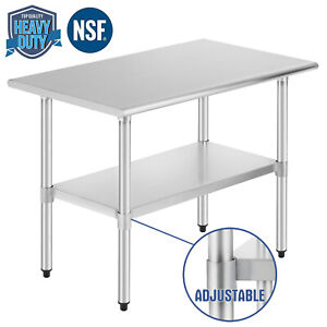 Commercial-Prep-Work-Table-Kitchen-w-Adjustable-Shelf-Stainless-Steel-NSF24-034-x36-034