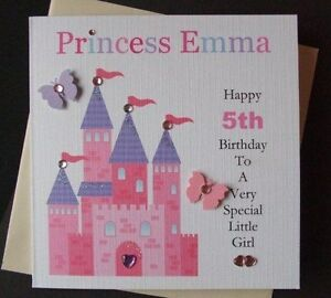 Personalised-Handmade-Princess-Birthday-Card-1st-2nd-3rd-Any-Age-Girls