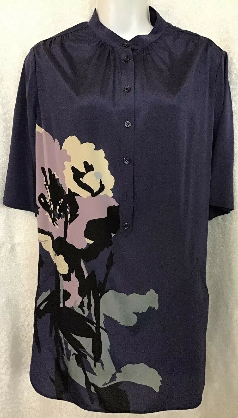 Armani Collezioni Blouse lila Water ColGoldt Flower Pockets Stretchy Silk Sz 8