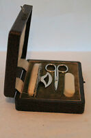 Vintage Travelling Three Piece Manicure Set In Original Box Circa 1950
