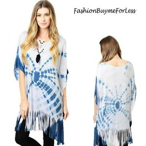 Hippie-BOHO-Gypsy-Blue-Tie-Dye-Kimono-Sleeve-Oversized-Fringe-Tunic-Top-S-M-L-XL