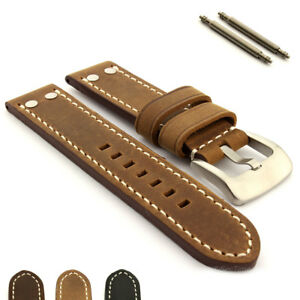 Two-Piece-Men-039-s-Genuine-Leather-Watch-Strap-Band-20-22-24-26-Marina-Rivets-MM