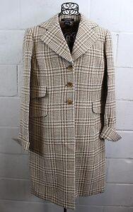 $648 ELLEN TRACY Tan Camel Wool Blend Herringbone Houndstooth Coat Jacket 12 NWT