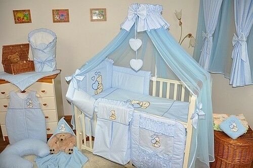 LUXURY 10pcs NURSERY BABY BEDDING SET//CANOPY// ROD 4 BABY COT or COT BED//cotbed