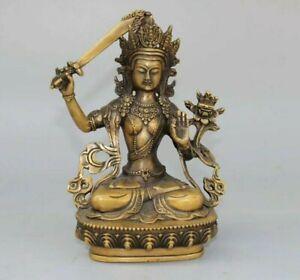 Collectible-Buddhism-Temple-Manjushri-Bodhisattva-Old-Copper-buddha-Statue