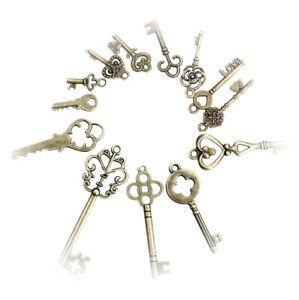 Antique-Vintage-Old-Look-Skeleton-Keys-Lot-Bronze-Tone-Pendants-Mix-Jewelry-13pc