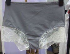 Yummie Tummie Shape-Wear Ribbed Tricot & Lace Grey Boy Shorts Control Pant SZ S