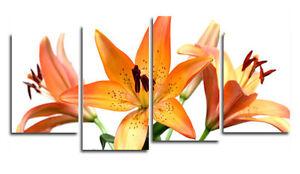 Fleur Lys Orange Toile Art Imprimer Floral Mur Art Flo8 Ebay