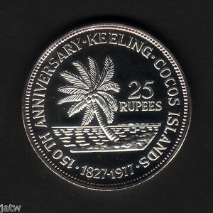 Cocos-Keeling-Islands-1977-25-Rupees-Silver-BU-SCARCE