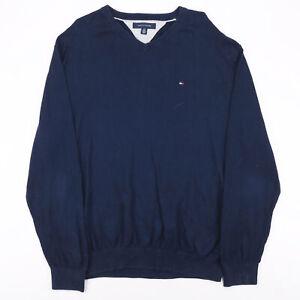 Tommy Hilfiger blau Classic V-Ausschnitt Baumwolle Uni Pullover Herren L