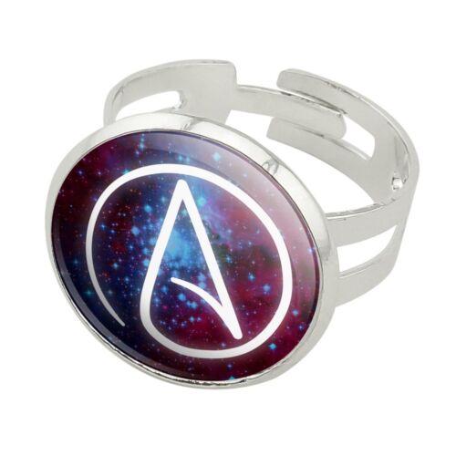 Athée l/'athéisme symbole dans l/'espace Plaqué Argent Réglable Fantaisie Bague