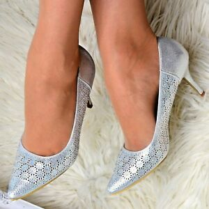 Women-Sparkly-Christmas-Party-Shoes-Low-Mid-Heel-Diamante-Mary-Jane-Evening-Pump
