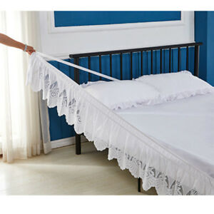 Lace-Wrap-Bed-Skirt-Elastic-Ruffle-Bedding-Dressing-14-Inch-Drop-All-Sizes-Chic