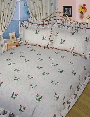 SINGLE BED OPHELIA FRILLED DUVET COVER SET OLIVE GREEN FLORAL PINK GREY
