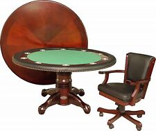 """60"""" ROUND POKER CARD TABLE with 2 FELT COLORS and 4 MATCHING CHAIRS in MAHOGANY"""