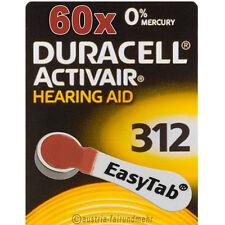"""60x DURACELL EasyTab 312 ACTIVAIR Hörgeräte-Batterie PR41 braun"