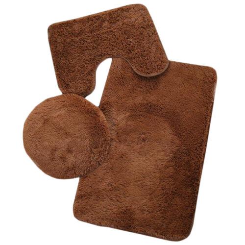 Luxury Plush Solid 3pcs Bath Mat Set Non Slip Water Absorbent Bathroom Rugs Set