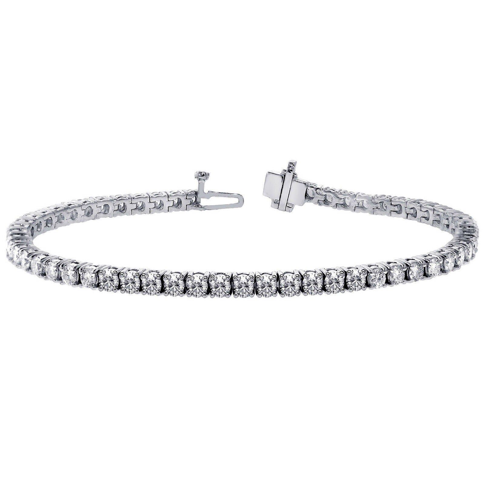 18Carat White gold Diamond Tennis Bracelet 4-Claw Setting 4.00 carats  7  Inches