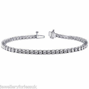 18Carat-White-Gold-Diamond-Tennis-Bracelet-4claw-3-00cts-7-25-034-Inches-Hallmarked