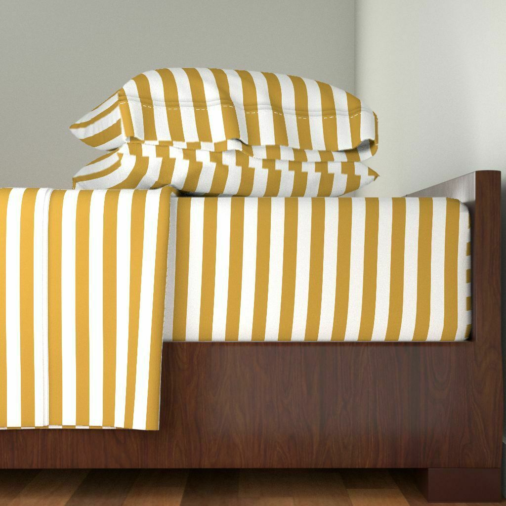 Stripes Basic Horizontal oro oro 100% Cotton Sateen Sheet Set by Roostery