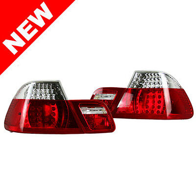 99-03 BMW E46 COUPE / 01-03 M3 LED TAILLIGHTS W/ FACELIFT INNERS - CLEAR/RED