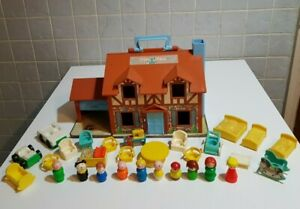 VINTAGE-FISHER-PRICE-PLAY-FAMILY-HOUSE-ANNI-1970-giocattolo-Bundle-Natale