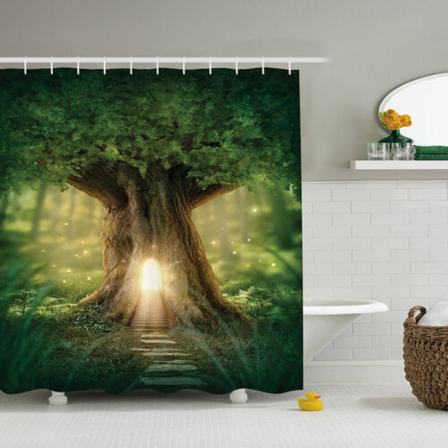 AOACreations Shower Curtain with Hooks for Bathroom Magical Tree Forrest Jungle