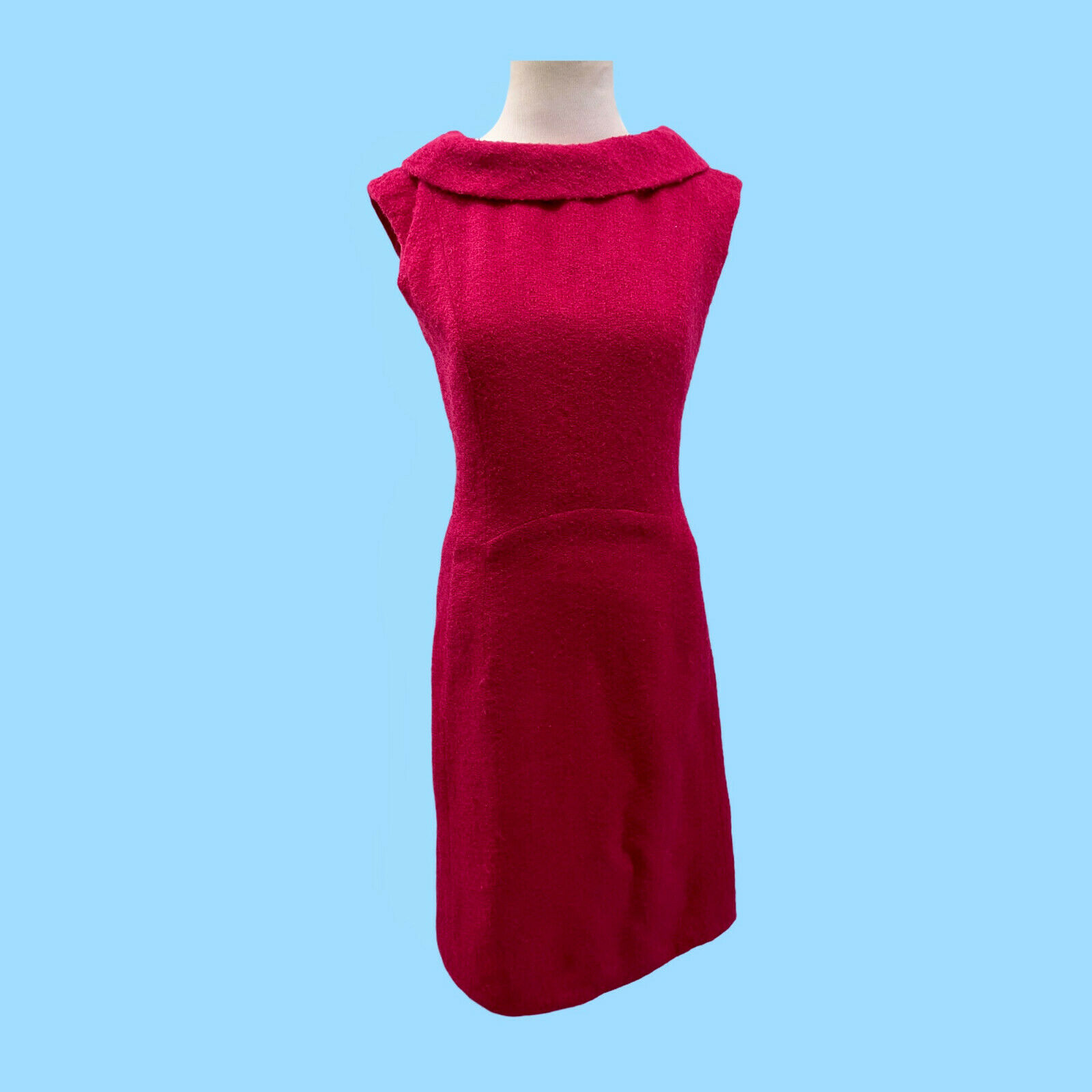 Vintage 1960's A-Line Red Dress W/ Reversed Peter Pan Collar Cocktail Party
