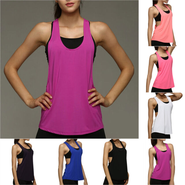 Sexy Women Backless Tank Vest Fitness Gym Stretch Sports T-Shirt fit Workout Top