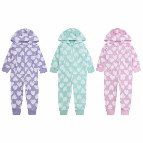 Girls Heart Onezee Kids Plush Hooded Soft Fleece Novelty All In One Nightwear